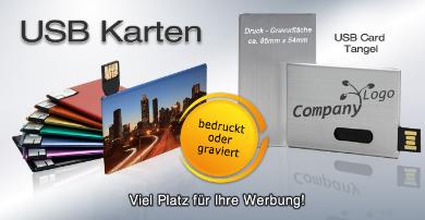 USB, USB Karten, USB Visitenkartenformat, USB Sticks mit großer Werbefläche