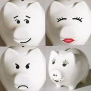 Sparschwein, Porzellan Sparschwein, Logo auf Spardose